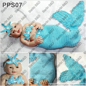 Newborn Baby Sleeping Bag Sea Star Headband Handmade Crochet Mermaid Tail Cocoon Set in Blue with Tail for 0-6 months Baby
