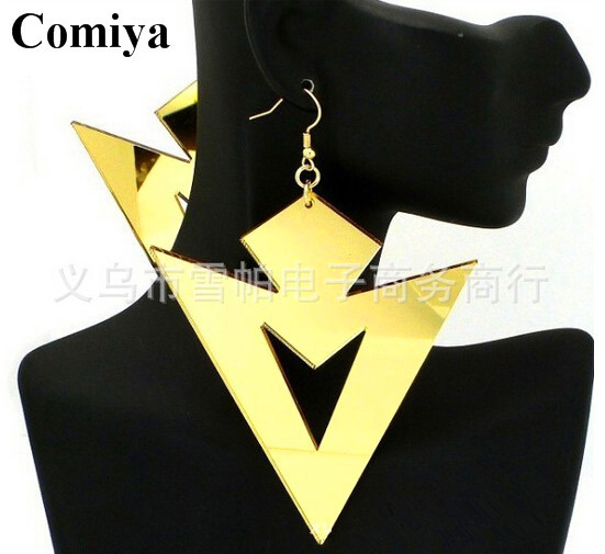 New style women earring summer jewelry fashion accessories stylish trendy earrings bijoux gold fishhook link triangle drops(China (Mainland))
