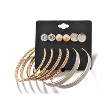 6 Pairs/Set Jewelry Earrings Circle Rhinestone Ear Stud Women Charms Attractive Fashion Luxury Ring Gifts Party Wedding Annivers(China)