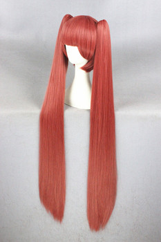 Gugure Kokkuri-san Long Straight Watermelon Red Synthetic Anime Cosplay Wig 100 CM
