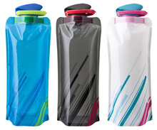 Summer hot Eco-Friendly Portable Foldable Reuseable 700ml water bottle with Carabiner for outdoor sports travel mug folding bags