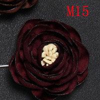 BoYuTe di Vendita Al Dettaglio 1 Pezzo di Alta Qualità del Tessuto Del Fiore della Rosa Spilla Risvolto Spille Uomo Classic Boutonniere di Cerimonia Nuziale 17 Colori a Tinta Unita(China)
