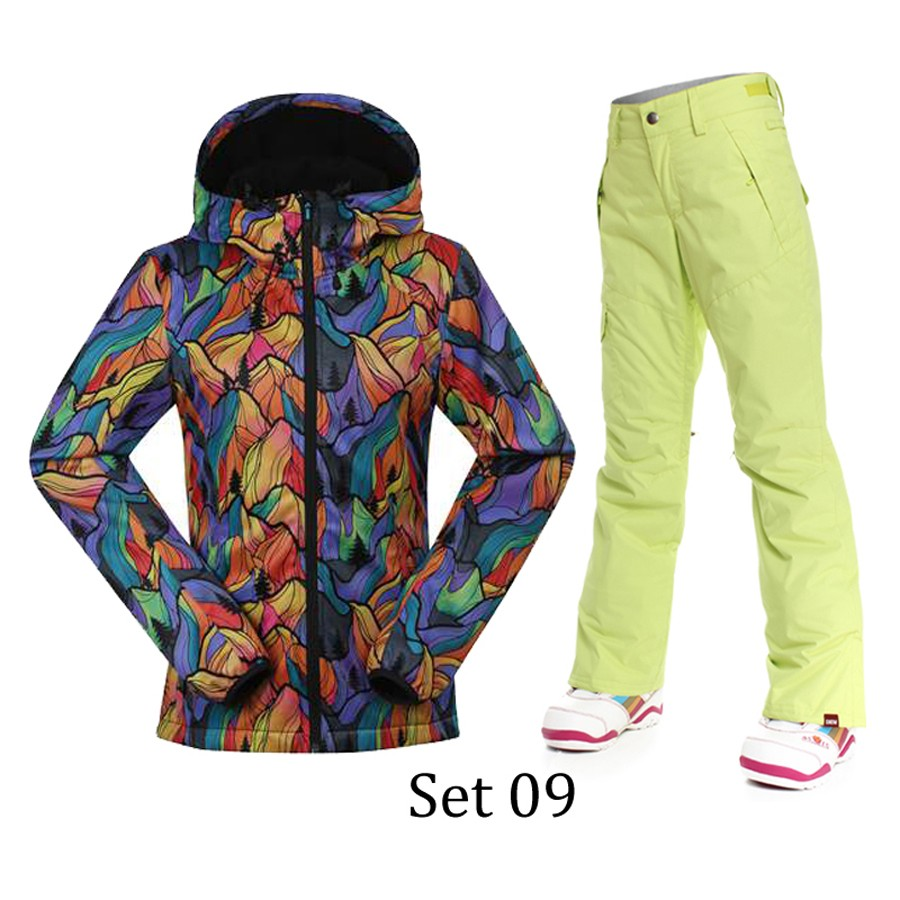 Best Quality waterproof jacket Gsou snow ski suit womens snowboard jackets pants mountain women skiing clothing trousers sets