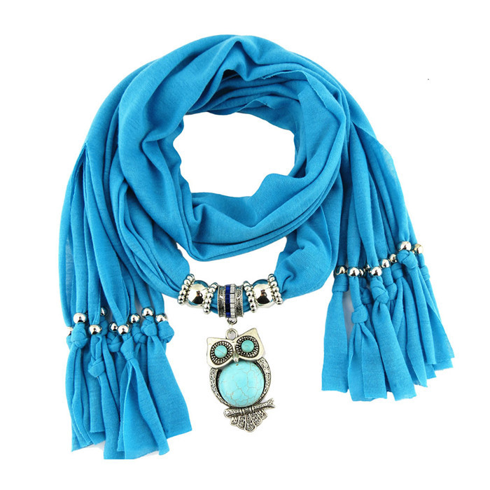 2017 Women's Autumn Winter Scarves Fashion Print Owl Pendant Necklace Scarf Rhinestone Charm Jewelry Tassel Warm Scarf Bufandas