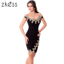 Buy ZKESS Black Bodycon Summer Dress Slim Sexy 2017 Elegant Slash Neck Sheath Short Sleeve Lace Sheer Vintage Party Dresses LC61188 for $13.26 in AliExpress store