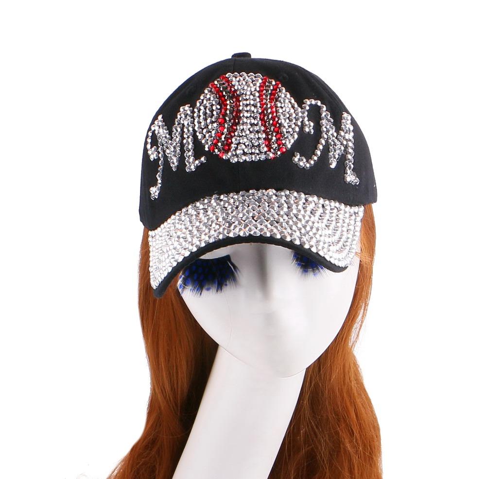hot wholesale new popular girl women pretty cute MOM ball design novelty cotton denim black baseball cap snapback hat chapeau(China (Mainland))