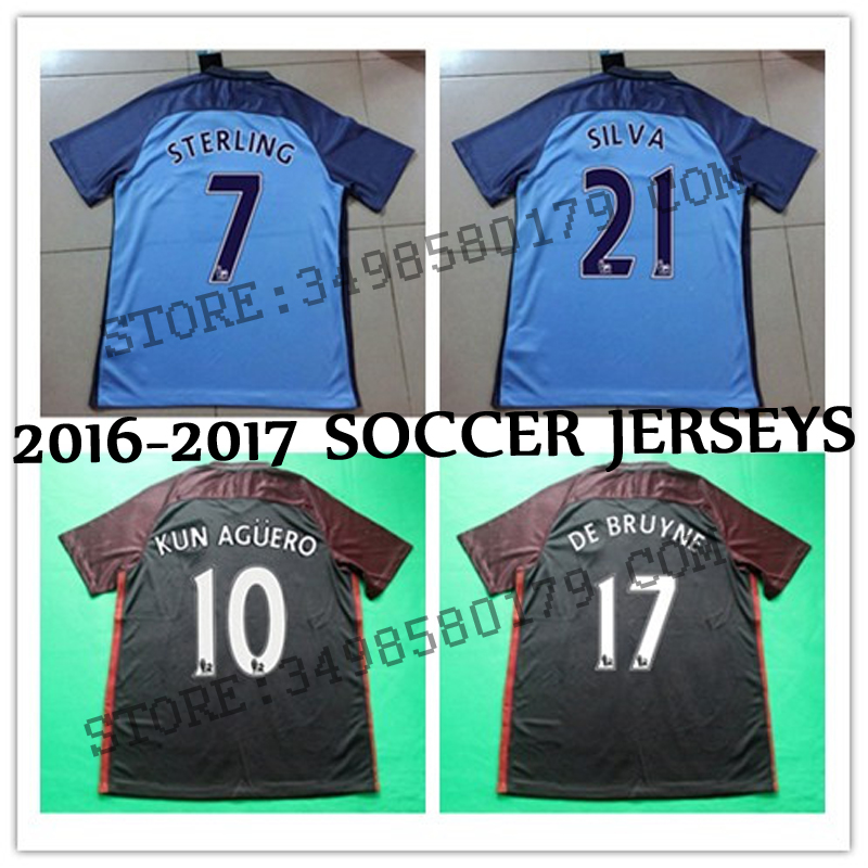 Best quality 2016 2017 red white blue Adults Shirts survetement 16 17 KUN AGUERO STERLING DE BRUYNE custom shirt free shipping(China (Mainland))