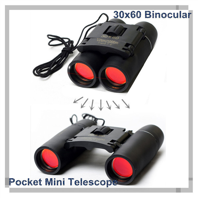 30 x 60 Fishing Telescope Glasses Binoculars Folding 126M/1000M  Mini Binocular Telescope Tourism Watch the game