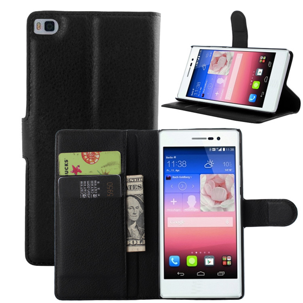 P8 Case Fashion Lychee Print PU Leather Case For Huawei P8 Card Holder Wallet Stand Flip Phone Shell Cover(China (Mainland))