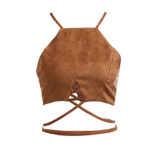 Black Khaki Suede Lace Up Women Tops Sexy Halter Bandage Shirts Casual Blusas 2016 New European Style Summer Ladies Crop Tops(China (Mainland))