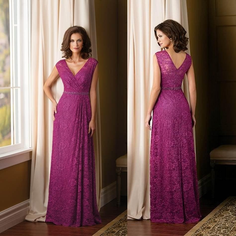 Formal Mother of the Bride Lace Dresses Fuchsia 2015 Vestido Mae da Noiva V-neck Elegant Pant Suits Mother of the Groom Gowns(China (Mainland))