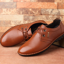 Large Size 38-52 Genuine Leather Flats Men Wedding Dress Shoes 2016 New Spring/Autumn Fashion Round Toe Lace-Up Casual Shoes Men(China (Mainland))