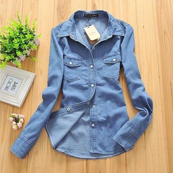 Большой размер джинсовые рубашки женской одежды ностальгию градиент джинсы рубашка винтаж женщин camisa джинсы blusas feminina блузка