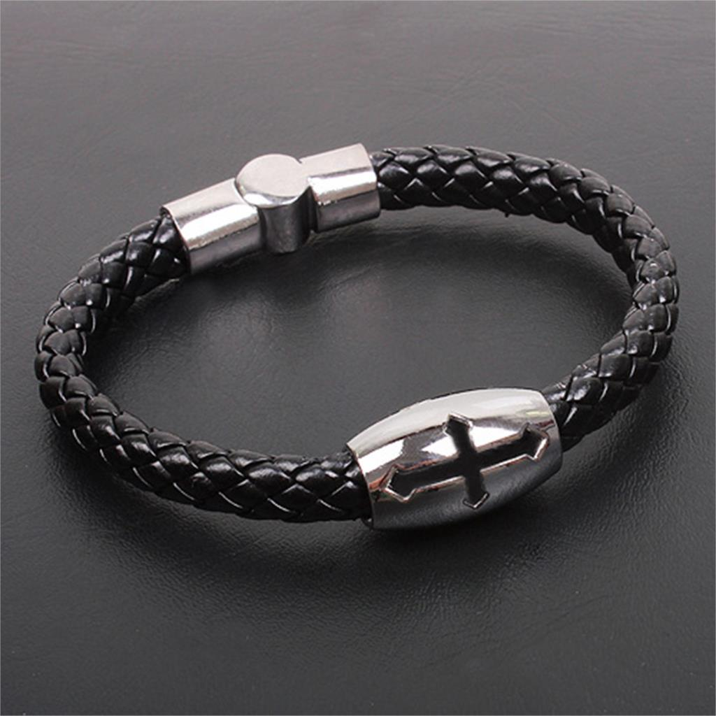 2015 Men Jewelry Popular Cool Bracelets Bangles Religious Cross Snake Braid Leather Bracelet Summer Style Men