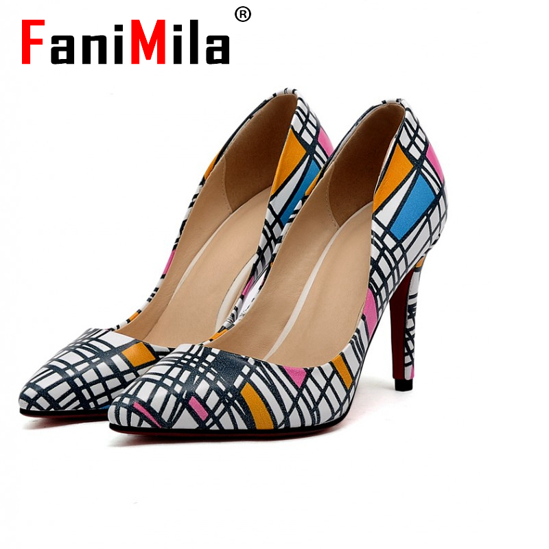 women real genuine leather mixed color pointed toe high heel shoes brand sexy fashion pumps ladies heeled shoes size 34-39 R6974<br><br>Aliexpress