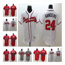 Men's 24 Deion Sanders 3 Dale Murphy 10 Chipper Jones 44 Hank Aaron Jerseys White Gray Red Alternate Flexbase Sewn Jerseys(China (Mainland))