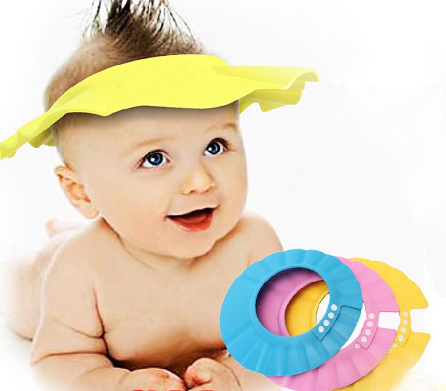 3 Colors 2015 Soft EVA Kids Baby Shower Cap For Babies Adjustable Children  Boy Shower Hat