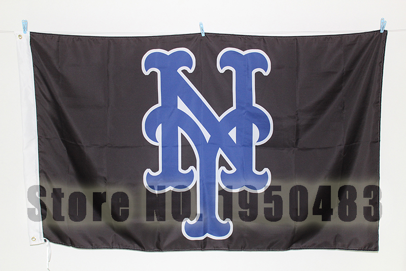 MLB New york mets custom sports flag, size 90*150cm(3*5FT) , baseball team banner without flagpole(China (Mainland))