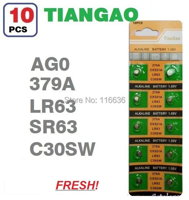 10x AG0 SR63 SG0 379A LR521 SR521 SR521SW 521 SR63 C30S TIANGAO Cell Button Batteries men