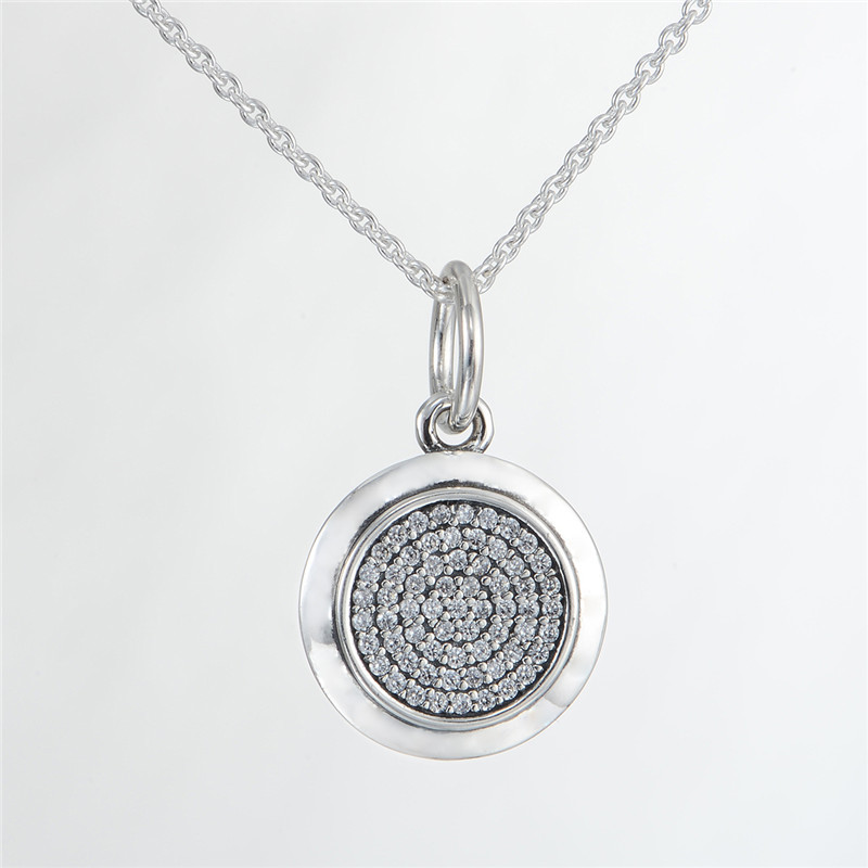 68CM Chain PAN Signature Pave Clear CZ Pendant Necklace100% 925 Silver Pendant Necklace For Women DIY Fashion Jewelry(China (Mainland))