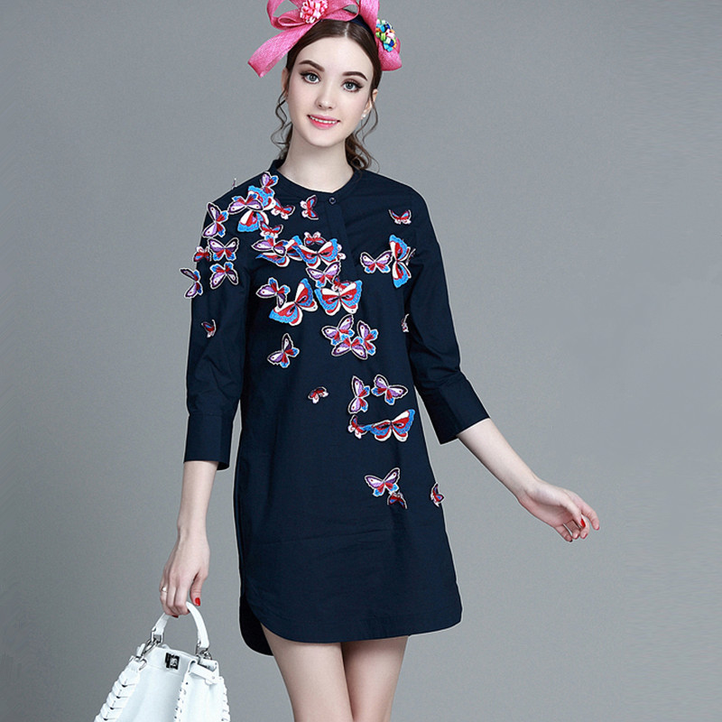Long shirt ladies 2016 spring autumn high grade solid butterfly embroidery beaded women long blouse(China (Mainland))
