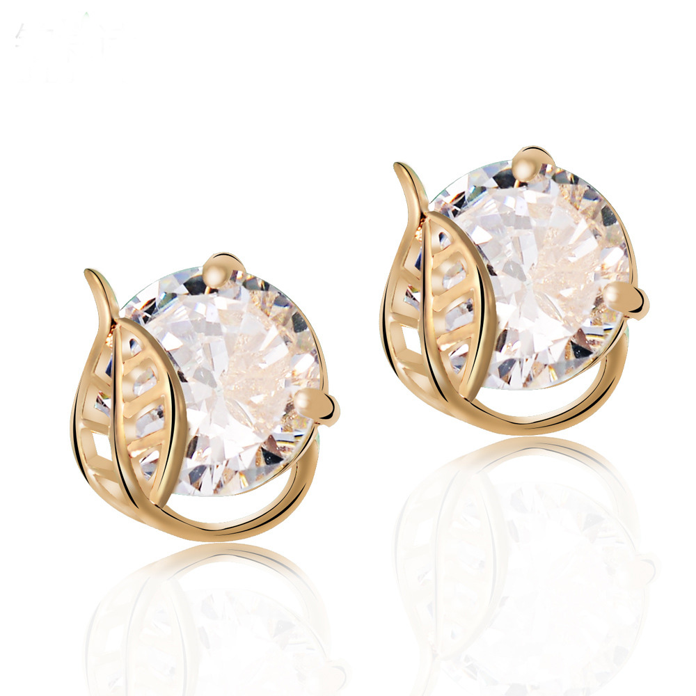 Top Grade Korean Hollow Leaf Design 18k Gold Plated Round Big Cz Diamond Stud  Earrings For Women Girls Piercing Jewelry
