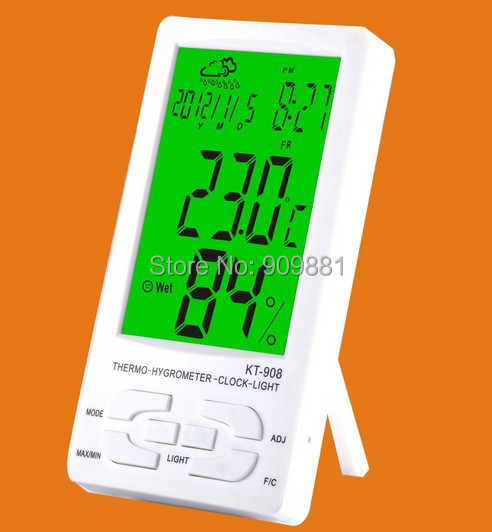 New Digital LCD Thermometer Hygrometer Temperature Humidity Clock With Backlight KT908 Portable Electronic Temperture Meter(China (Mainland))