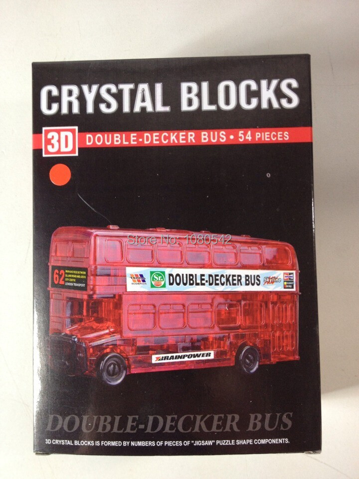 Funny Crystal Double-checker bus 3D Puzzle DIY puzzles for children(China (Mainland))