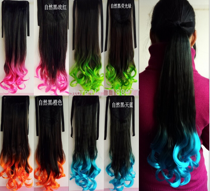 2015 Fashion Women's Girls Cute Pony Tail colorful Ponytail Wigs Medium Wavy Curly Synthetic Hairpiece Pear Ponytail Clips Gift(China (Mainland))