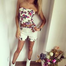 Top fashion 2015 new style summer  womem casual good quality vest Flower Bra Shorts Set female beach wear(China (Mainland))