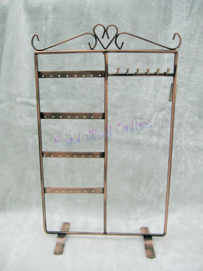 Iron Pedestal Display Stand, Jewelry Display Rack, Red Copper, about 21cm wide, 35cm high<br><br>Aliexpress