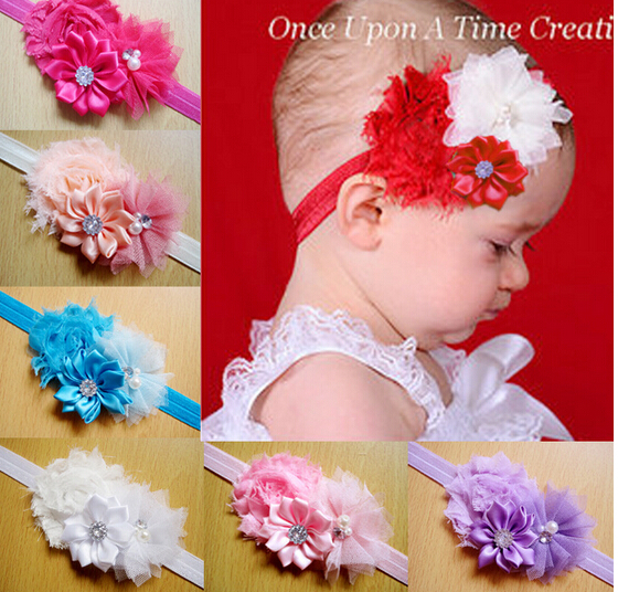 New Shabby Satin Mesh Flowers Clusters Elastic Headband Hairbands for Baby's Hair Accessories(China (Mainland))