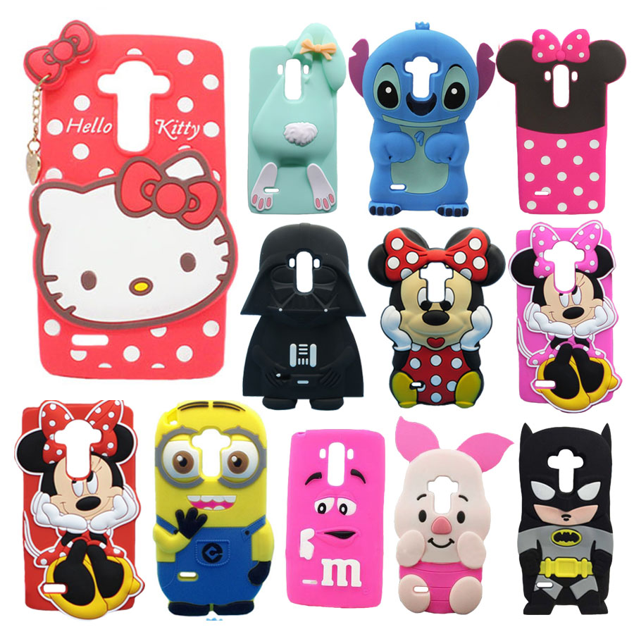For LG G Stylo LS770 G4 Note G4 Stylus Phone Case 3D Cartoon Stitch Minions Hello Kitty Minnie Mouse Girl Silicone Back Cover(China (Mainland))