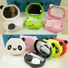 1PCS Free Shipping 2015 New Arrive Cartoon Cute Panda Animal Design Contact Lens Case Soak Storage Cosmetic Box