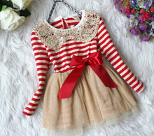 2014 Fall Autumn Winter Girls Chiffon Dress Sequins Collar Baby Girl Dress Christma Kids Girl Dresses Stripe Tutu Dress