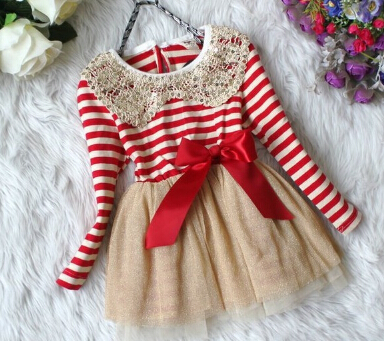 2014 Fall Autumn Winter Girls Chiffon Dress Sequins Collar Baby Girl Dress Christma Kids Girl Dresses Stripe Tutu Dress(China (Mainland))