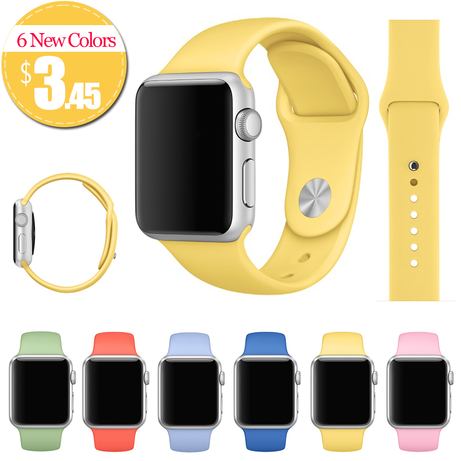 2016 New Silicone Watch Band With Connector Adapter for Apple Watch Band 42mm/38mm Strap For iWatch Sports Buckle Bracelet(China (Mainland))