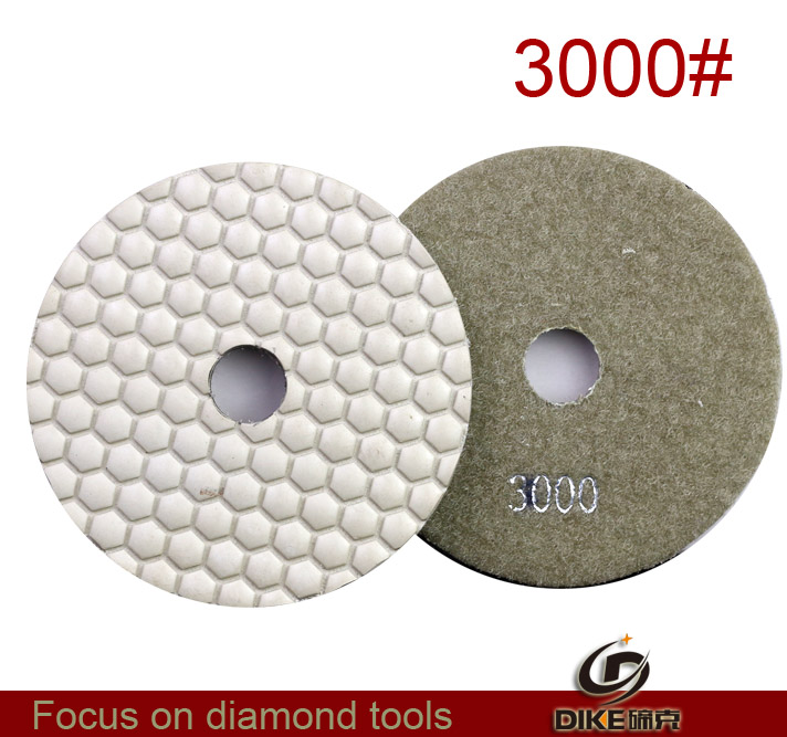 "Free shipping 3000# 4""(100mm) dry diamond polishing pad for angler grinding marble concrete stone(China (Mainland))"