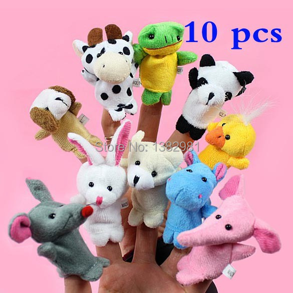New Brand  Baby  toy Animal Finger Puppet Plush Toys Cartoon Biological  Child Baby Favor Dol 10 pcs high quality hot sale (China (Mainland))