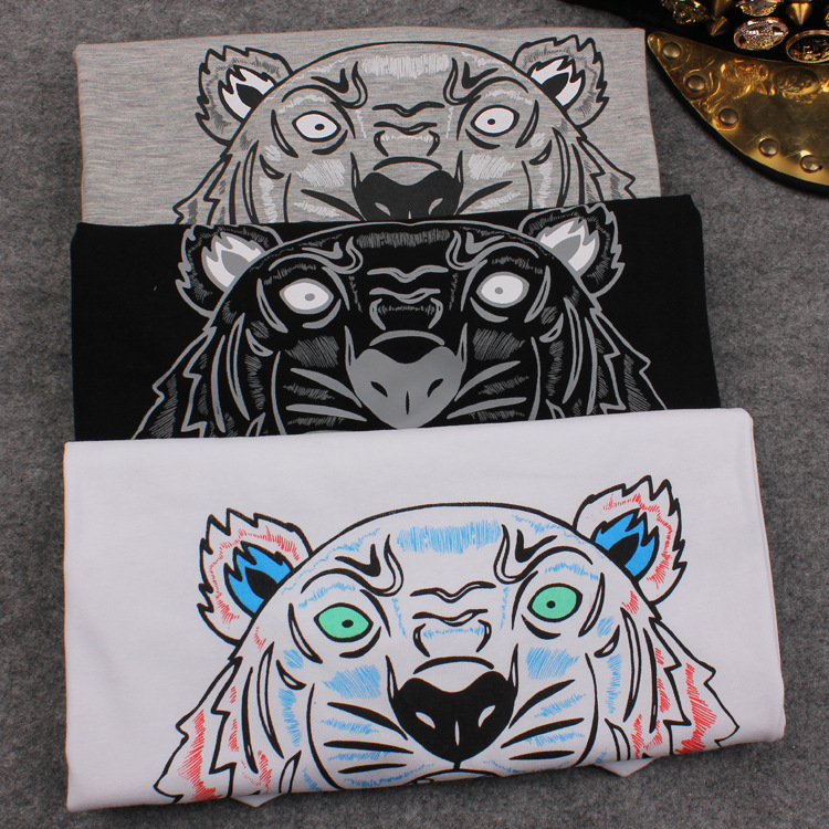 High Quality KEN 2015 New Brand European Women Tiger Head Print T-Shirt Cotton Short-Sleeved T Shirt Female Tops & Tees Shirts(China (Mainland))