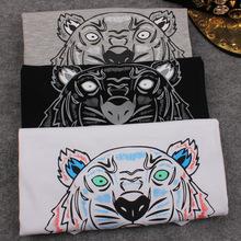 High Quality KEN 2015 New Brand European Women Tiger Head Print T Shirt Cotton Short Sleeved