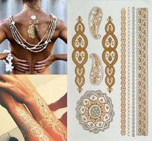 golden tatto body art metallic temporary tattoo jewelry bracelet flash tattoo gold tatoo