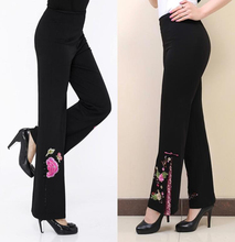 2016 Tang suit embroidery women pants trousers wide leg pants black embroidery flower pants high waist clothing trend plus size