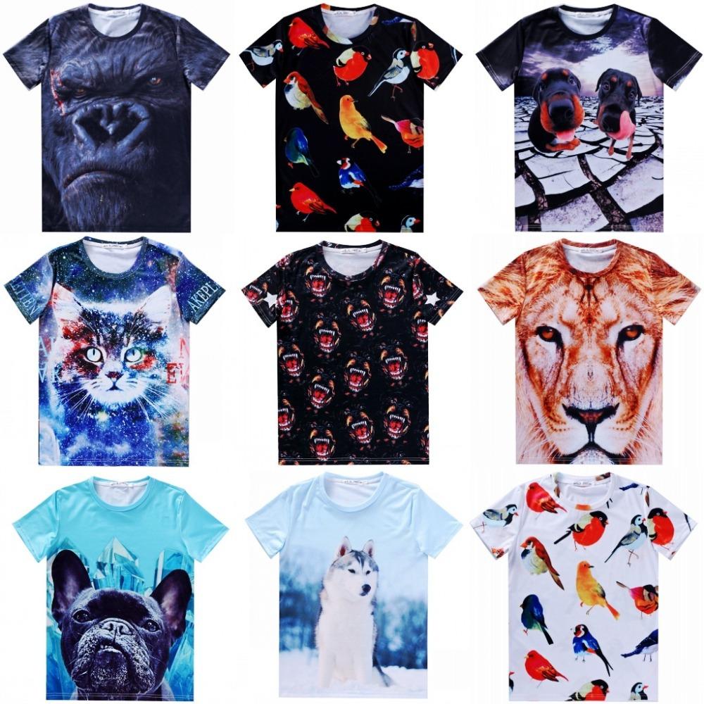 Мужская футболка 2015 t Cat tshirt t 3d Animal print мужская майка 2014 3d t cat 3d 002