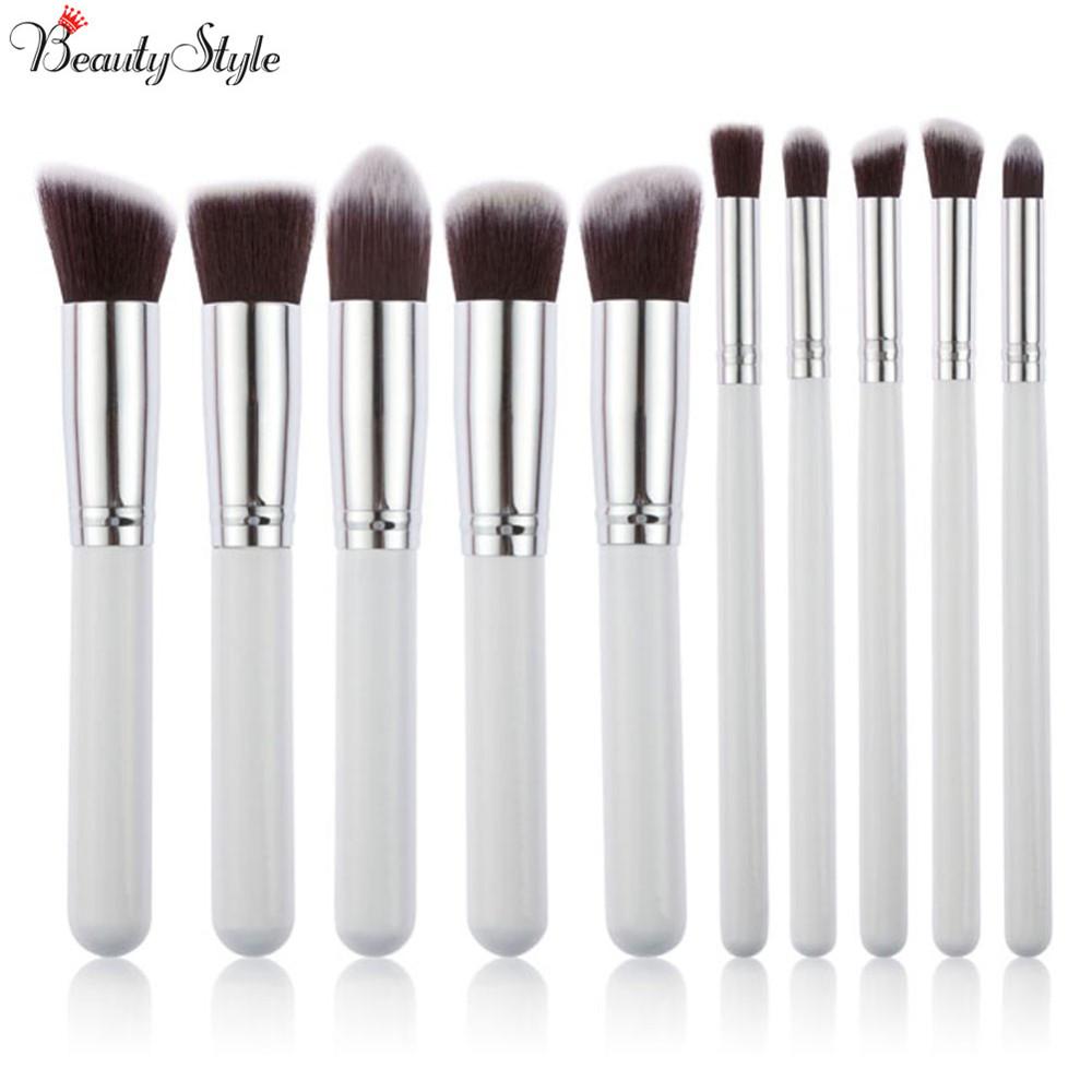 Professional Cosmetic Makeup Tools Brushes 10pcs Brushes Set Powder Eyeshadow Lip Blush Kits Wood Handle Beauty White Silver(China (Mainland))