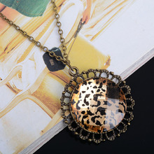 Fashion Vintage Leopard Necklaces Pendant Retro Statement Round Long Chain Hollow Sweater Necklace - Tinker Bell Jewelry store