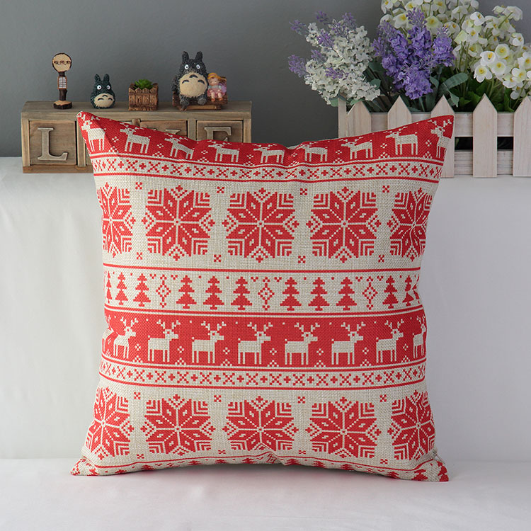 Bohemian throw pillows cover stripe cushion covers snowflake decorative cotton linen vintage christmas home decor 25pcs