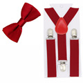 Suspenders and Bow Tie Set Braces Elastic Y back for Baby Kids Red Pink Black Blue
