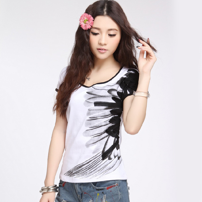 Promotion Clothes National Style Printing Inking Personalized Feather Cotton Women Cotton T Shirt Summer Casual S-4XL HT048(China (Mainland))