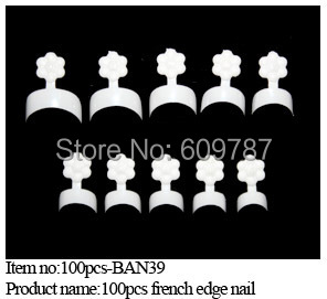 1box/ lot -100pcs in a box White French False Acrylic Nail Art Tips Edge Form Guide UV Gel